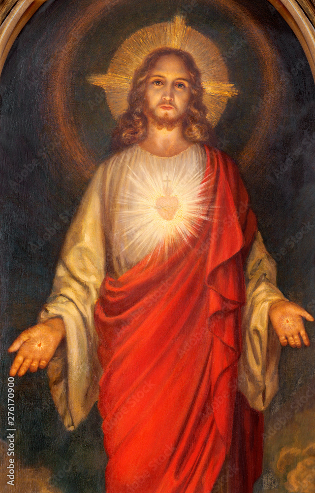 Fototapety, obrazy: BELAGGIO, ITALY - MAY 10, 2015: The painting of Heart of Jesus  in church Chiesa di San Giacomo from end of 19. cent.