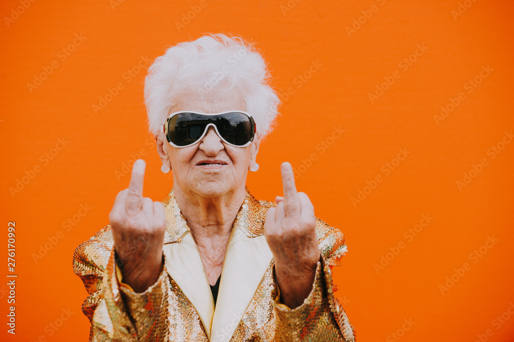 Fototapety, obrazy: Grandmother portraits on colored backgrounds