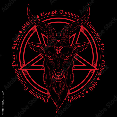 Fotomural Baphomet demon goat head hand drawn print or blackwork flash tattoo art design vector illustration