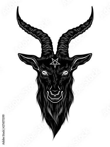 Baphomet demon goat head hand drawn print or blackwork flash tattoo art design vector illustration Fototapeta