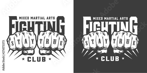 Canvas Print Vintage fight club monochrome logo