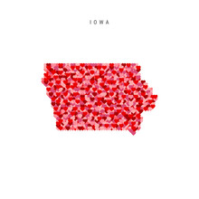 I Love Iowa. Red Hearts Pattern Vector Map Of Iowa
