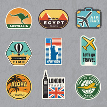 Travel Vintage Sticker. Summer Vacation Labels For Old Luggage Tropical Travel Vector Logo Collection. Illustration Of Travel Label For Luggage, Sticker Tag