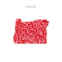 I Love Oregon. Red Hearts Pattern Vector Map Of Oregon