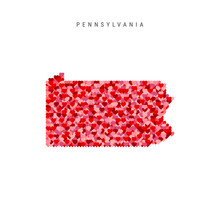 I Love Pennsylvania. Red Hearts Pattern Vector Map Of Pennsylvania