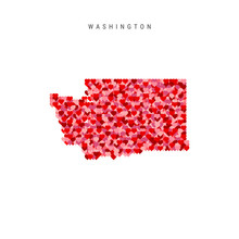I Love Washington. Red Hearts Pattern Vector Map Of Washington