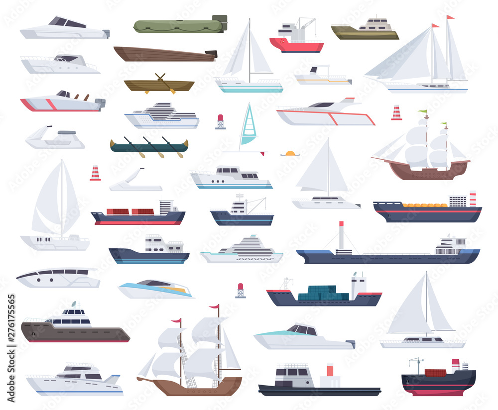 Fototapeta Ocean ships. Yacht sailing boats and travel big and little vessel vector cartoon collection. Illustration of speedboat and powerboat, tugboat and sailboat