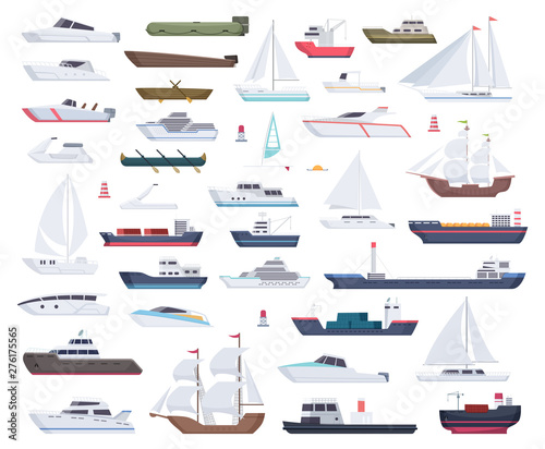 Ocean ships. Yacht sailing boats and travel big and little vessel vector cartoon collection. Illustration of speedboat and powerboat, tugboat and sailboat Wall mural