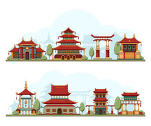 Japan Landscape. Traditional China Cultural Buildings Architecture Template Pagoda Palace Vector Background Illustration. Japan Building Landmark, Architecture Palace Pagoda