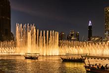 Beautiful Modern Dancing Fountains At Burj Khalifa, The Dubai Mall And Wonderful Evening Show, Dubai, United Arab Emirates