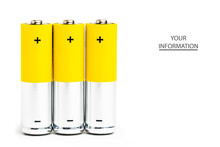 AA Alkaline Batteries On White...