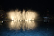 Beautiful Modern Dancing Fountains At Burj Khalifa, The Dubai Mall And Wonderful Evening Show, Dubai, United Arab Emirates