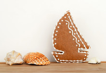 Gingerbread Sailing Boat And Seashells - Summer Sea Concept