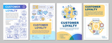 Referral Customer Loyalty Brochure Template Layout. Flyer, Booklet, Leaflet Print Design With Linear Illustrations. Vector Page Layouts For Magazines, Annual Reports, Advertising Posters