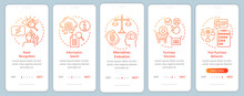 Buying Decision Process Orange Gradient Onboarding Mobile App Page Screen Vector Template. Purchasing Items Walkthrough Website Step With Linear Illustrations. UX, UI, GUI Smartphone Interface Concept