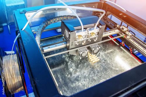 Fotografie, Obraz  Electronic dimensional plastic printer during work in laboratory, 3D printer, 3D printing