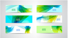 Vector Set Of Abstract Green And Blue Banners. Wavy, Sunny Summer Background