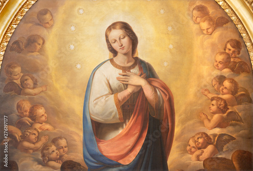 CATANIA, ITALY - APRIL 7, 2018: The painting of Immaculate Conception in church in church Chiesa di San Agostino by Antonio Licata (1820).