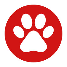 Animal Paw Print Icon Flat Red Round Button Vector Illustration