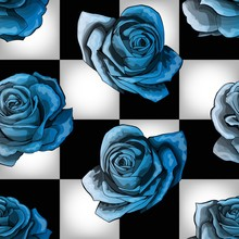 Cold Blue Vintage Roses On Chessboard Background. Vector Seamless Pattern