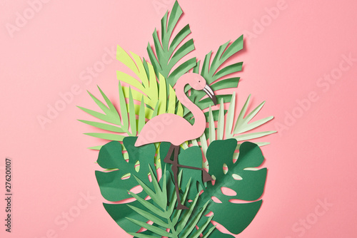 Garden Poster Flamingo top view of paper cut flamingos on green palm leaves on pink background