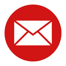 Email Icon Flat Red Round Button Vector Illustration