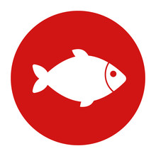 Fish Icon Flat Red Round Button Vector Illustration