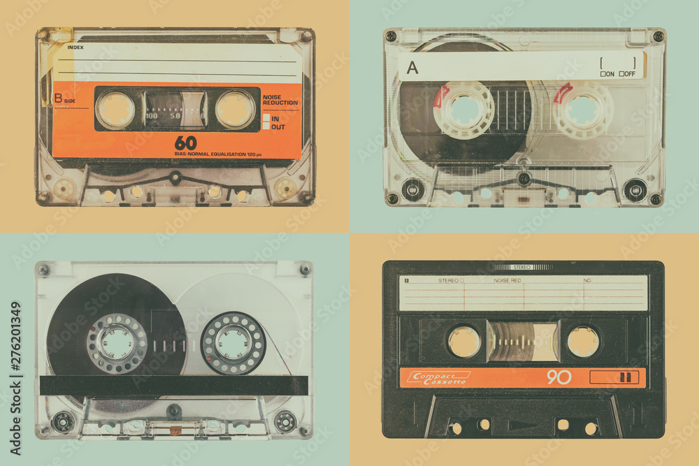 Four old audio compact cassettes