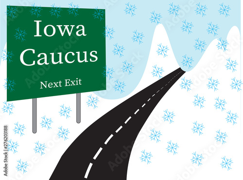 Obraz na plátne Iowa Caucus roadside illustrated placard