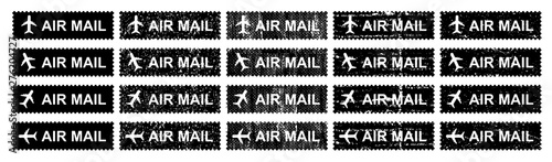 Airmail stamping with different grungy textured vector Canvas Print