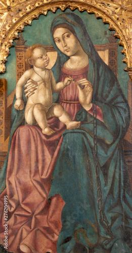 TAORMINA, ITALY - APRIL 9, 2018: The renaissance painting of Madonna in Duomo (San Pancrazio) by Antonello de Saliba (1504).