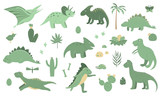 Fototapeta Dinusie - Vector set of cute green dinosaurs with palm trees, cactus, stones, footprints, bones for children. Dino flat cartoon character background. Cute prehistoric reptile illustration..