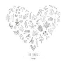 Vector Set Of Black And White Tree Elements Isolated On White Background Framed In Heart Shape. Line Drawing Of Birch, Maple, Oak, Rowan, Chestnut, Hazel, Linden, Alder, Aspen, Elm, Poplar, Willow