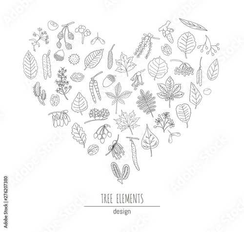 Vector set of black and white tree elements isolated on white background framed in heart shape Canvas Print