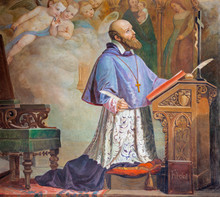 CATANIA, ITALY - APRIL 8, 2018: The Painting Of St. Francis De Sales In The Church Chiesa Di San Filipo Neri (1937).