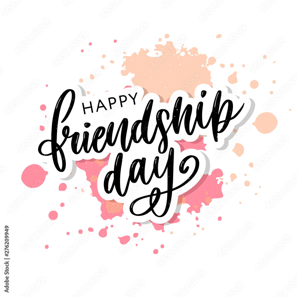Fototapety, obrazy: Vector illustration of hand drawn happy friendship day felicitation in fashion style with lettering text sign and color triangle for grunge effect isolated on white background