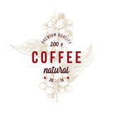 Type emblem over hand drawn coffee branch. Package design. - 276212999