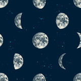 Seamless pattern with hand drawn moons - 276213145