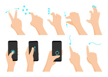 Touch Screen Hand Gestures Flat Colored Icon Series With Arrows Showing Direction Of Movement Of Fingers Isolated Vector Illustration.