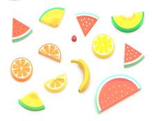3D Summer Fruits, Watermelon, Melon, Orange, Lemon, Grapefruit, Cherry, Banana. Isolated Images.