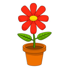 Bright Cartoon Flower In The P...