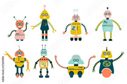 Deurstickers Robots Cute robots for girls and boys isolated on white background. Flat style collection of toys. Vector illustration.