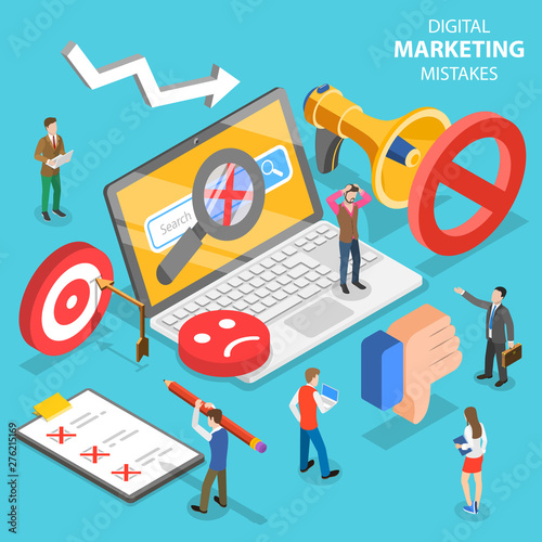 Photo  Isometric flat vector concept of digital marketing mistakes, wrong strategy, SEO errors