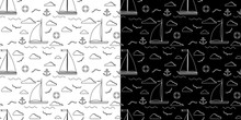 Set Of Black And White Line Art Vector Seamless Pattern With One Two Sails Sailboat, Clouds, Anchor, Lifebuoy, Gull On The Background. Endless Texture For Web, Covers, Decoration, Children's Design.