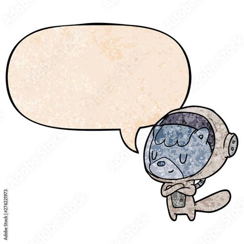 cartoon cat astronaut animals and speech bubble in retro