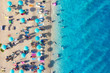Croatia. Aerial view on the beach. Vacation and adventure. Beach and turquoise water. Top view from drone at beach and azure sea. Travel and relax - image