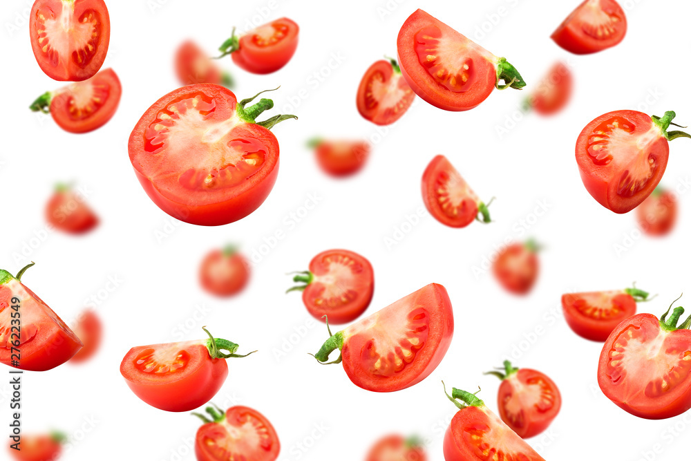 Fototapety, obrazy: Falling tomato isolated on white background, selective focus