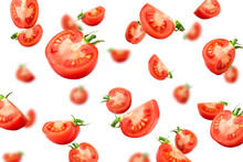 Falling Tomato Isolated On White Background, Selective Focus