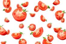 Falling Tomato Isolated On Whi...