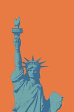 Engraving Liberty Illustration On Orange BG Pop Art Style
